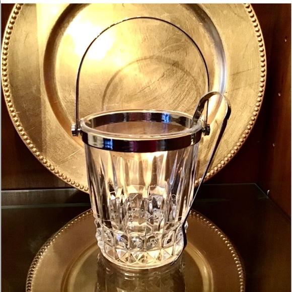 Crystal Ice Bucket Neiman's deep-cut lead w/Tongs